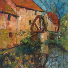 Mirror mill / Tükrös malom / 50x50 cm, oil on canvas, 2012. Peter Jakab Szőke