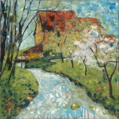 Spring mill / Tavaszi malom / 50x50cm, oil on canvas, 2012. Peter Jakab Szőke