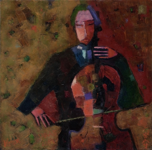 Chello man, 50x50cm, oil on canvas, 2014. Peter Jakab Szőke